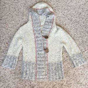 Free People Knit Buttoned Hoodie